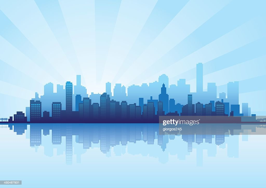 Illustrated blue and white cityscape