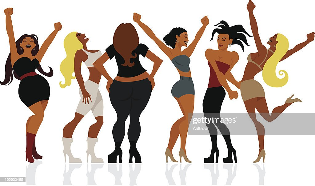 Illustrated cartoon happy curvy dancing women in heels