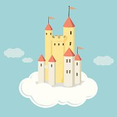 Illustrated castle on cloud in the air