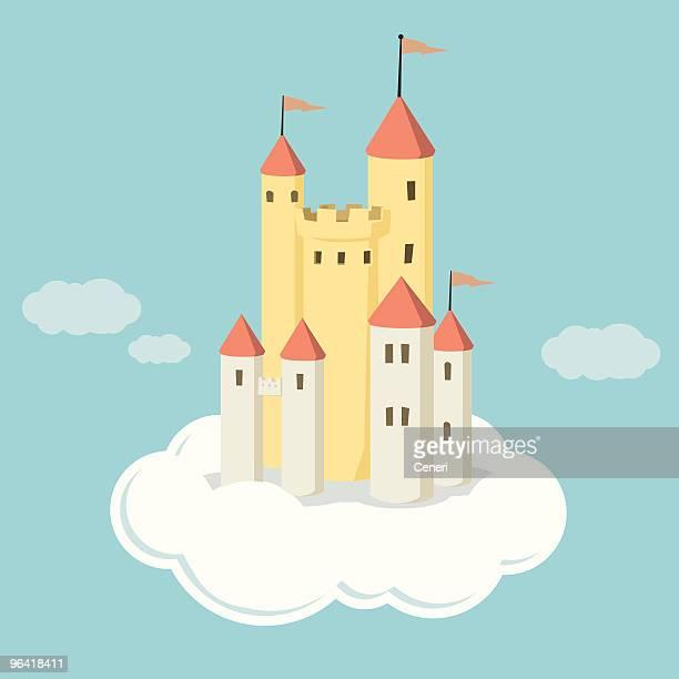 ilustraciones, imágenes clip art, dibujos animados e iconos de stock de castillos en el aire - flotando en el aire