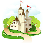 Illustrated castle with trees and sky