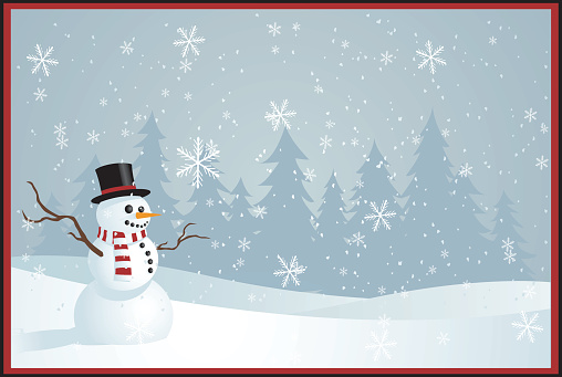 Illustrated Christmas greetings card with snowman - gettyimageskorea