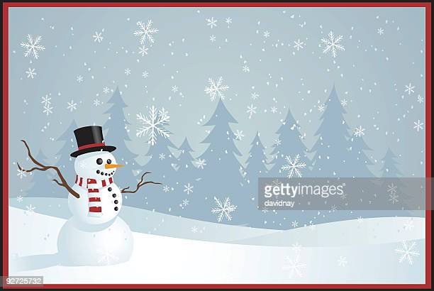 illustrated christmas greetings card with snowman - winter stock illustrations
