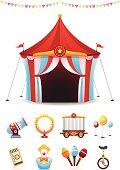 Illustrated circus tent and banner with circus icons set