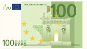 Illustrated closeup of a one hundred dollar euro banknote