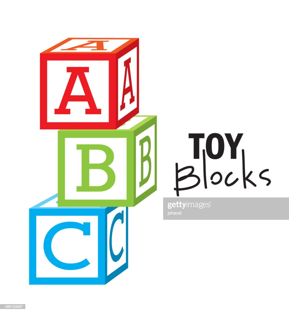 Illustrated colorful ABC toy blocks