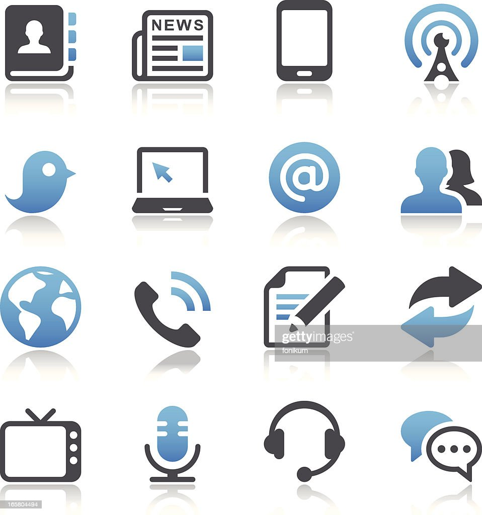 Illustrated communication and media icon set