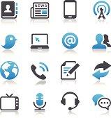 Illustrated communication and media icon set