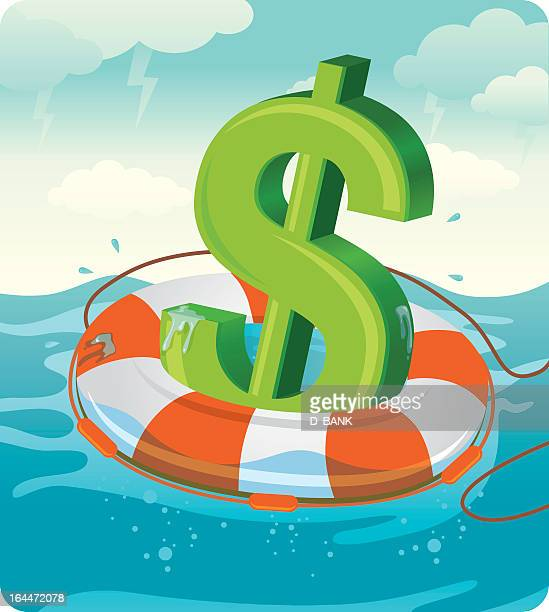illustrated concept of green dollar sign on life preserver - buoy stock illustrations, clip art, cartoons, & icons