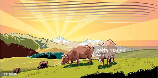 Illustrated cows grazing in the mountains