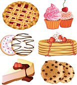 Illustrated desserts including pancakes, donuts, and cake
