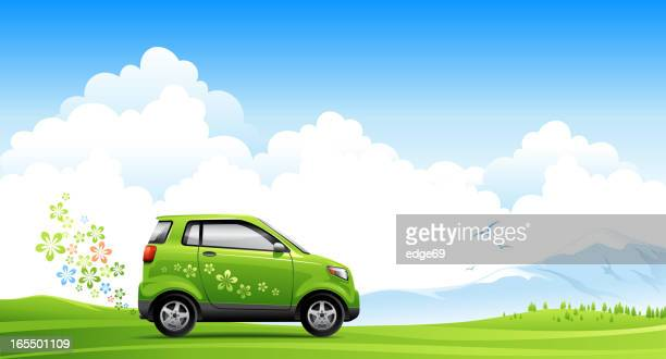 illustrated energy saving car on spring road - alternative fuel vehicle stock illustrations