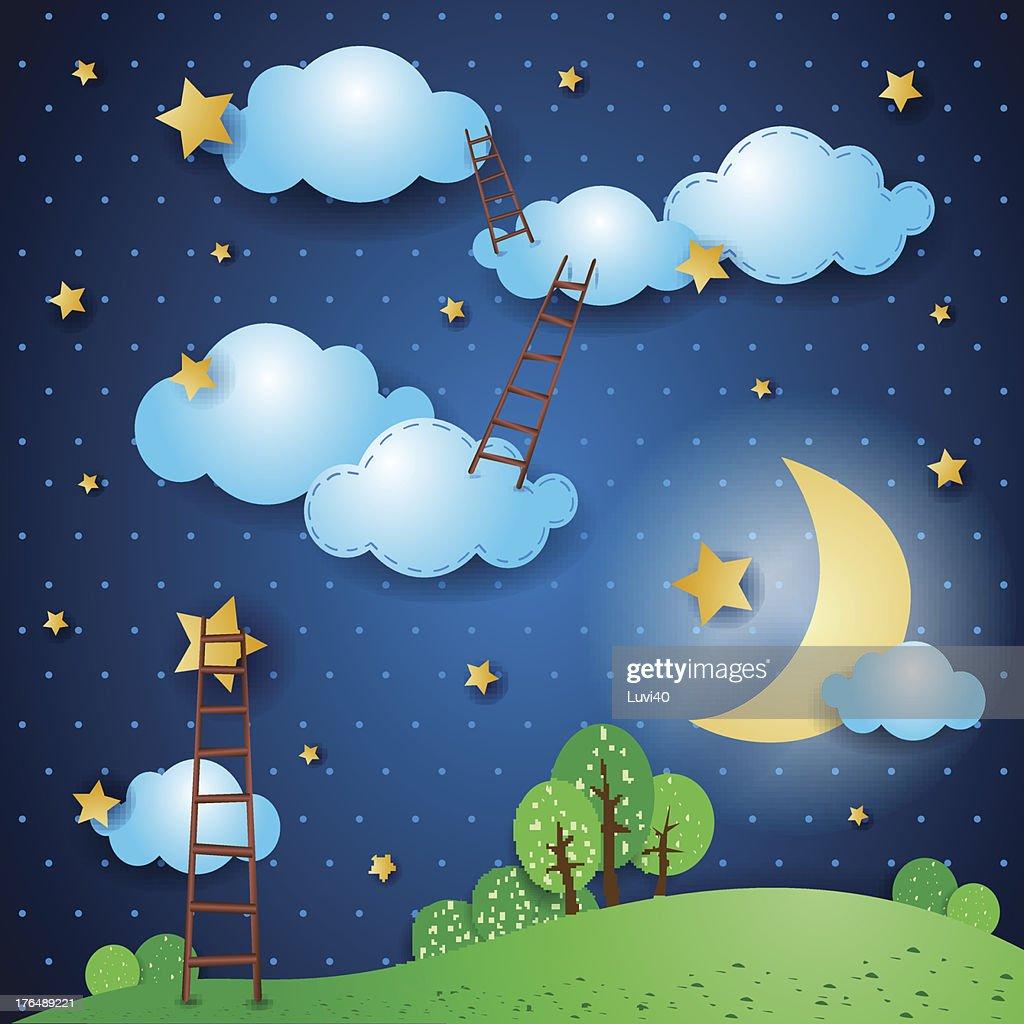 Illustrated fantasy landscape at night