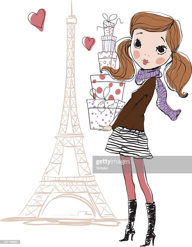 Illustrated fashionista posing near Eiffel Tower with boxes