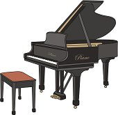 Illustrated grand piano on white background