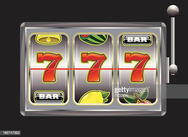 illustrated graphic of a slot machine with triple 7's - slot machine stock illustrations, clip art, cartoons, & icons