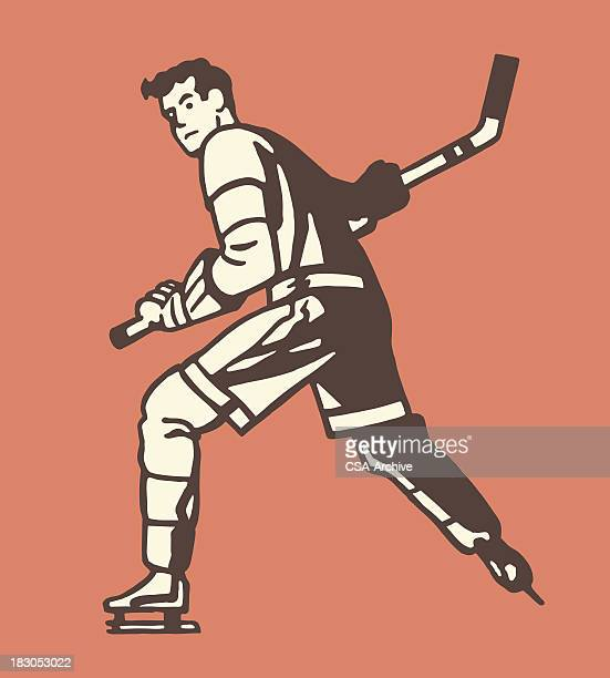 illustrated graphic of hockey player on orange background - hockey stock illustrations, clip art, cartoons, & icons