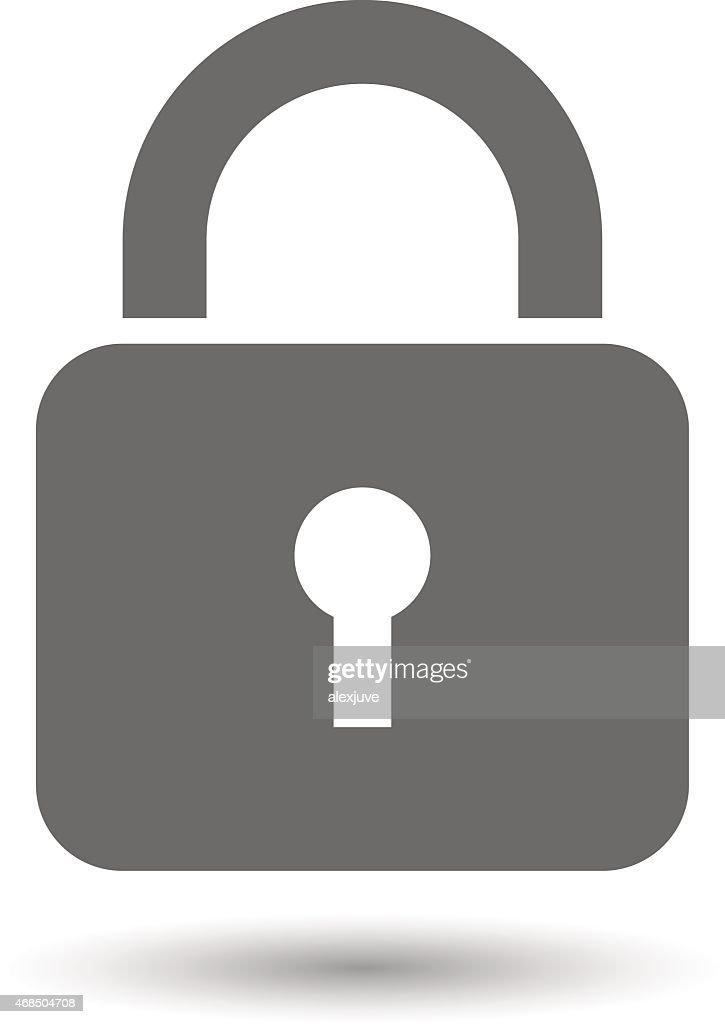 Illustrated gray padlock icon isolated on white