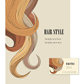 Illustrated hair style background and business card