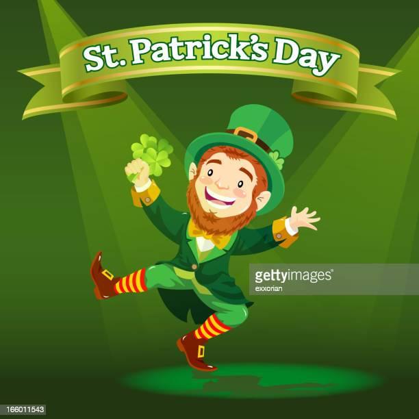 Illustrated happy leprechaun dancing, holding shamrock