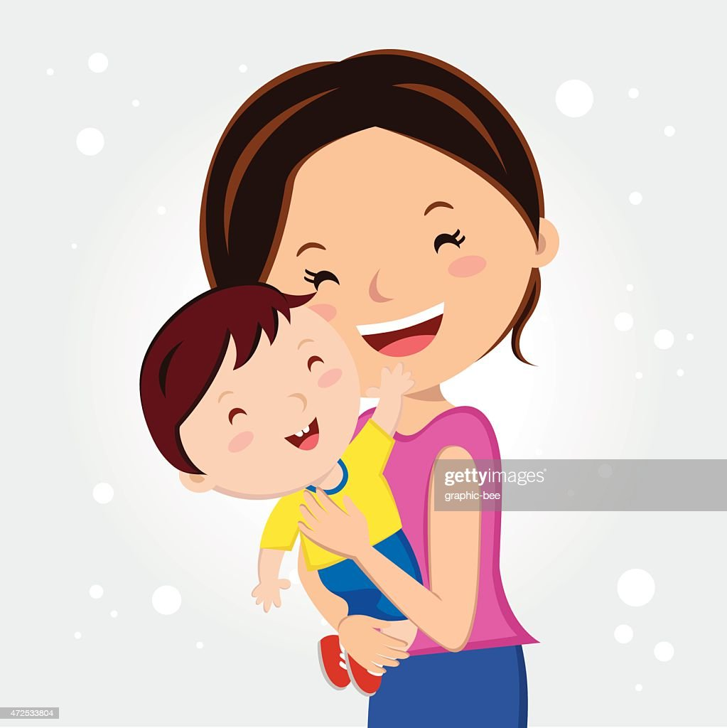 Illustrated happy woman holding her young son