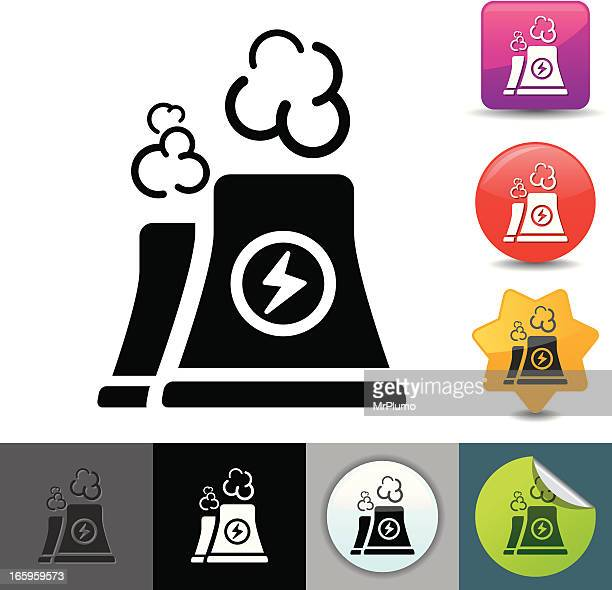 illustrated icons of a nuclear power plant's cooling towers - cooling tower stock illustrations
