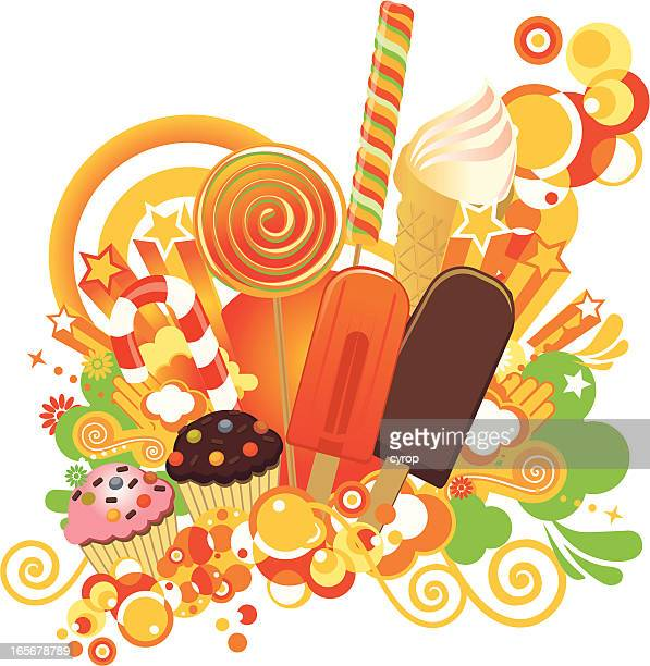 illustrated image of different sweets - frozen yogurt stock illustrations, clip art, cartoons, & icons