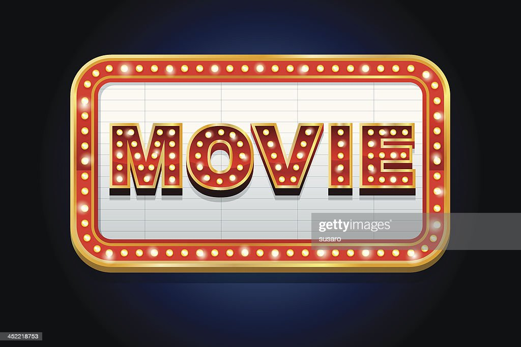 Illustrated lit up movie marquee : stock illustration