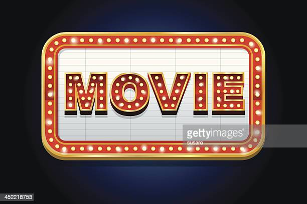 Illustrated lit up movie marquee