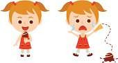 Illustrated little girl drops ice cream and cries