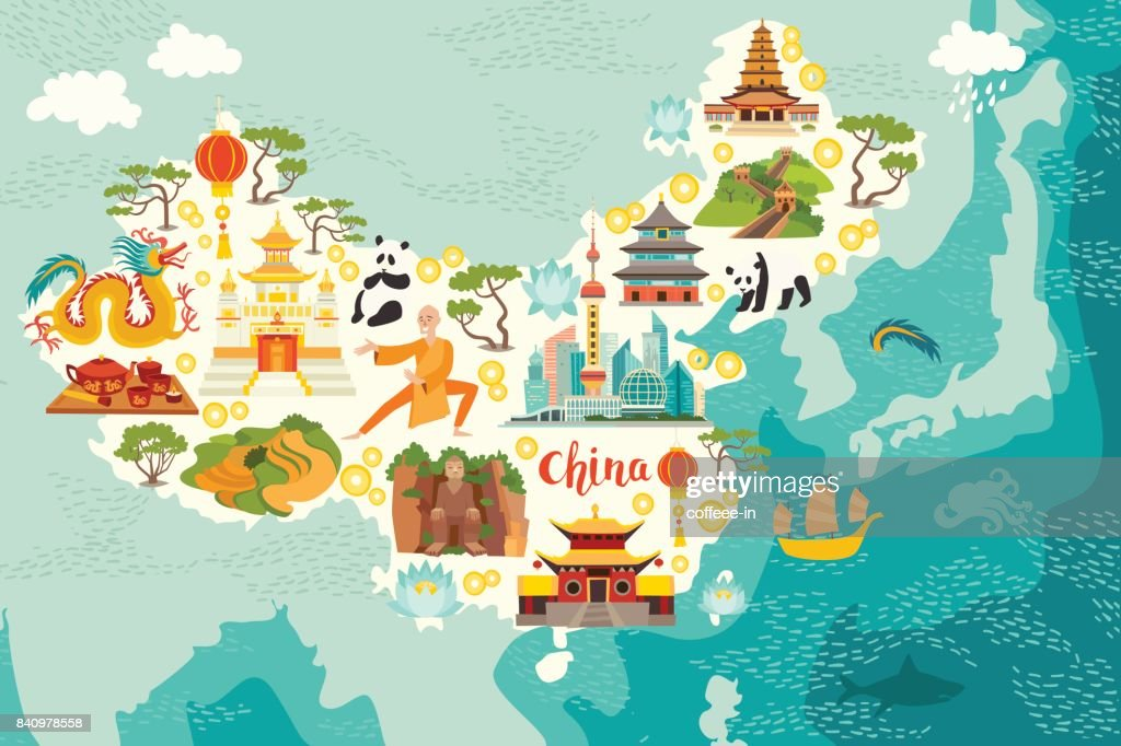 Illustrated map of China