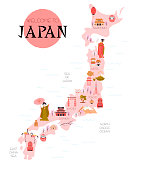 Illustrated map of Japan with traditional elements and landmarks.