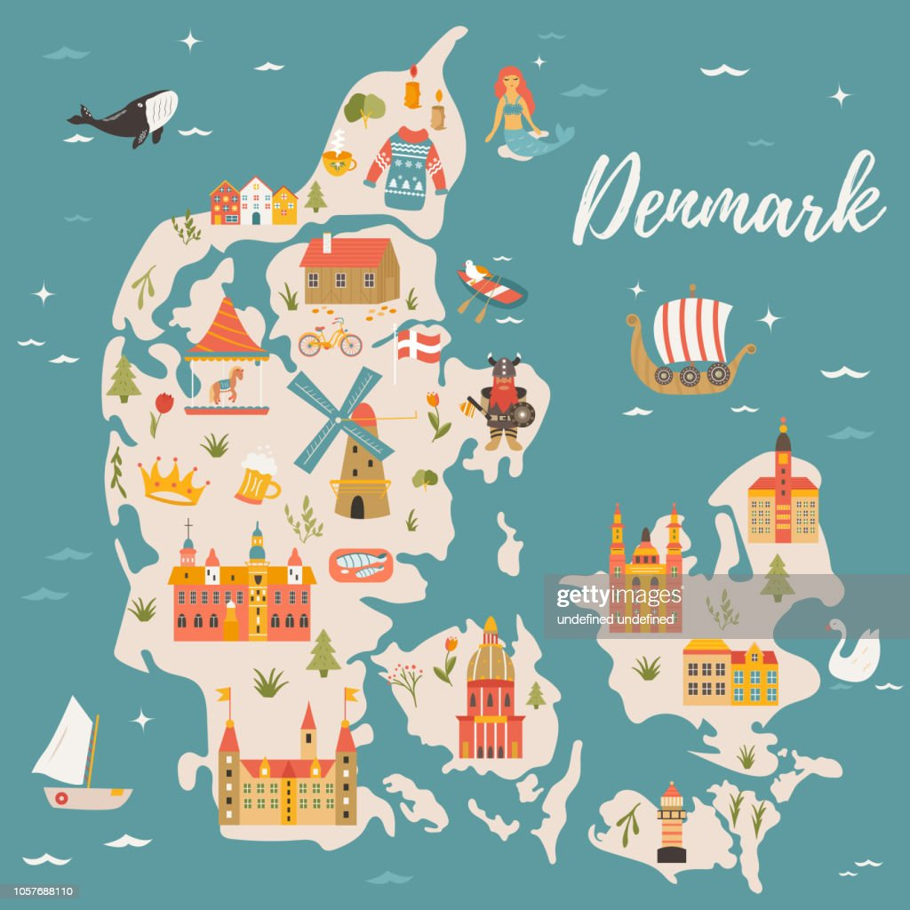 Illustrated map of Kingdom of Denmark with famous attractions, symbols. Bright scandinavian poster