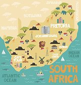 Illustrated map of South Africa with nature and landmarks