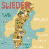 Illustrated map of Sweden with nature and landmarks