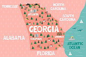 Illustrated map of the state of Georgia in United States