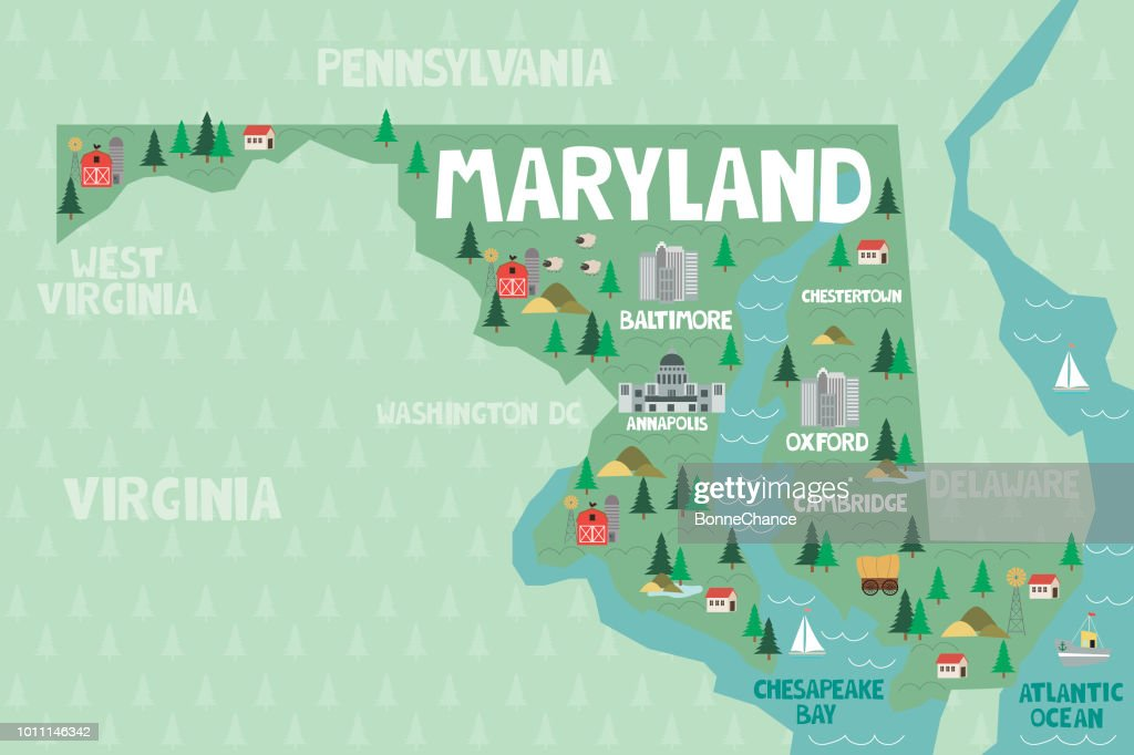 Illustrated map of the state of Maryland in United States