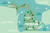 Illustrated map of the state of Michigan in United States