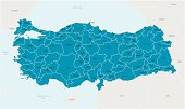 Illustrated map of Turkey in blue
