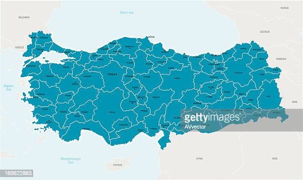 illustrated map of turkey in blue - turkey middle east stock illustrations