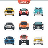 Illustrated multicolored car icon set