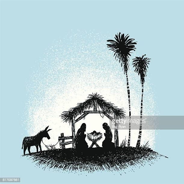 ilustraciones, imágenes clip art, dibujos animados e iconos de stock de ilustrado nativity - nacimiento de navidad