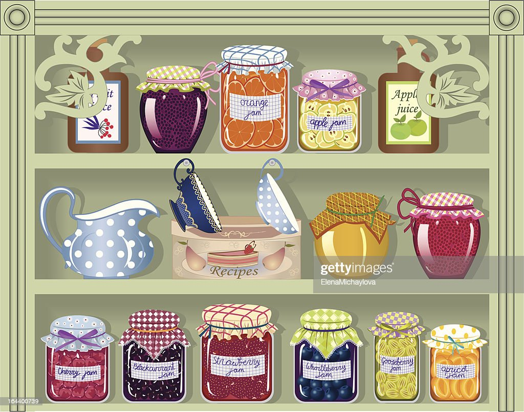 Illustrated pantry with various sweet items