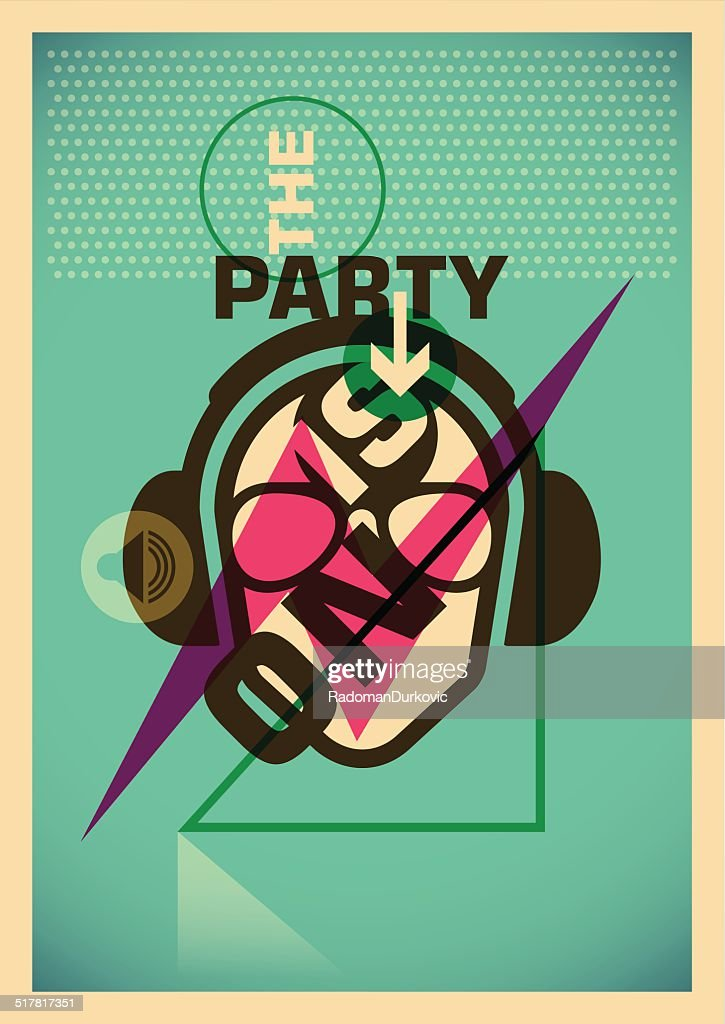Illustrated party poster.