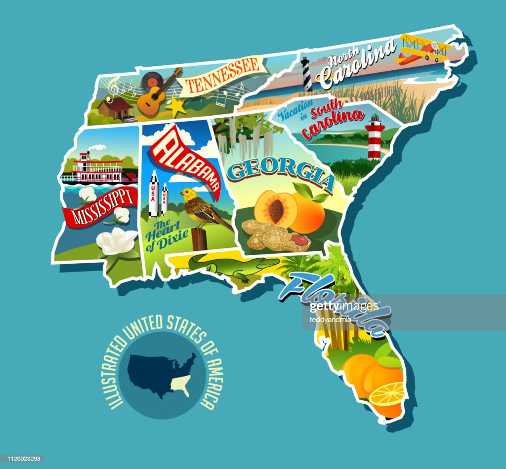 Illustrated pictorial map of Southern United States. Includes Tennessee, Carolinas, Georgia, Florida, Alabama and Mississippi.