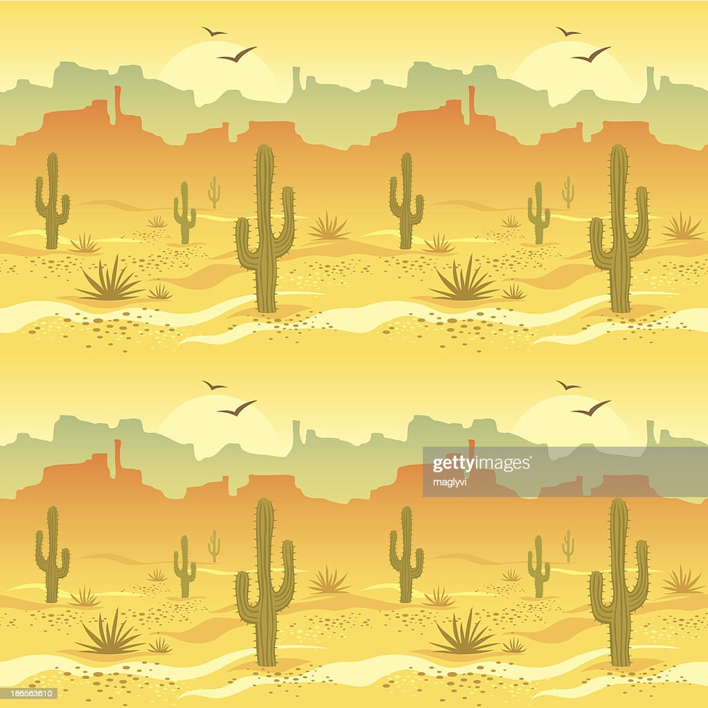 Illustrated picture of desert landscape