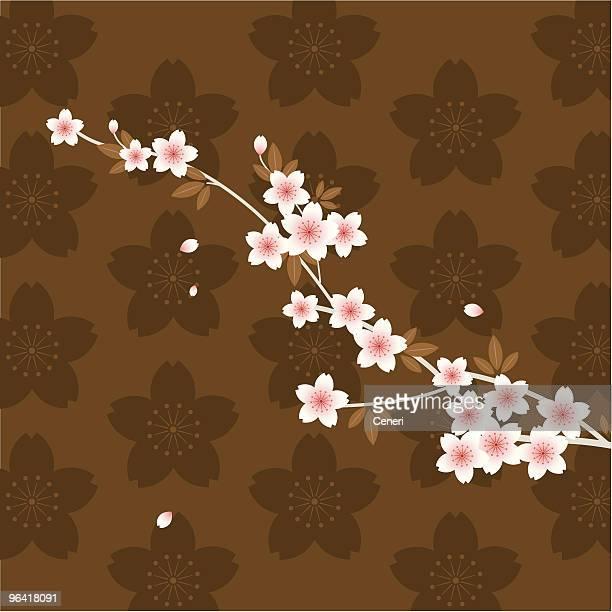 Illustrated pink Sakura branch on brown floral background