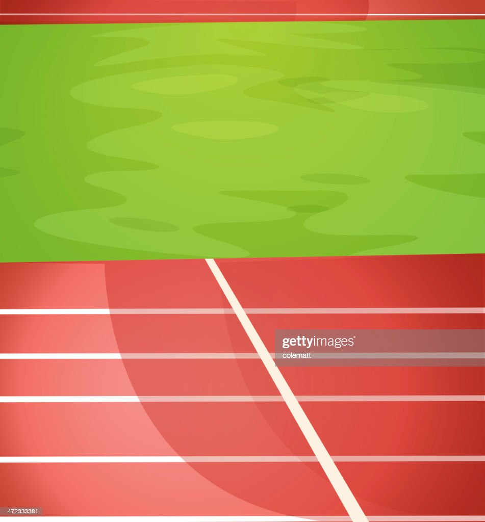 Illustrated running track lanes with grass field