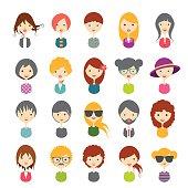 Illustrated set of avatars in white background