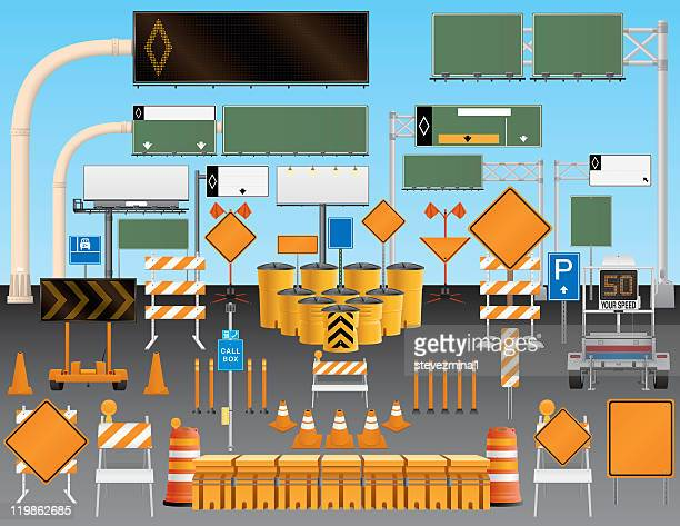 Illustrated set of road and traffic signs